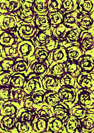 Abstract yellow and dark purple circle background from watercolor Imagens - 44355192
