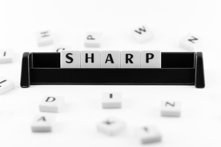 get a workout: Word SHARP put in a container in black and white