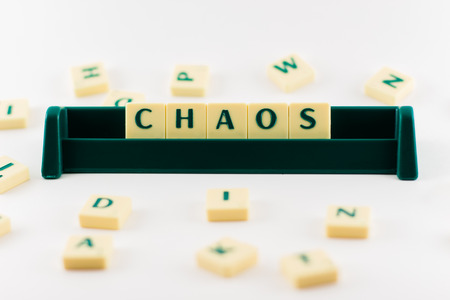 chaos: Word chaos Placed in container