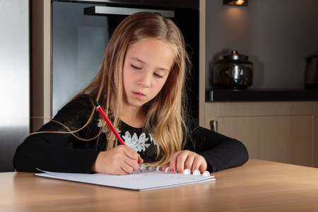 domestication: Girl doing homework in the kitchen Stock Photo