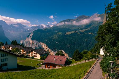 View on the Lauterbrunnen valley from Wengen in the summer. Wengen - Bernese Oberland - Switzerland