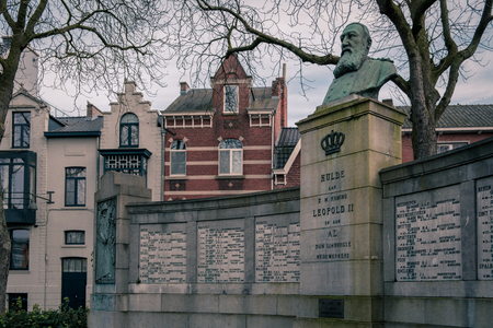Hasselt, Limburg, Flanders Belgium - February 18, 2018 : Sideview on memorial for King Leopold II and the Limburgian collaborators in Belgian Congo on the Kolonel Dusartplein square