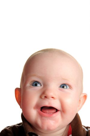 Cute happy baby looking up with room for text, isolated on white
