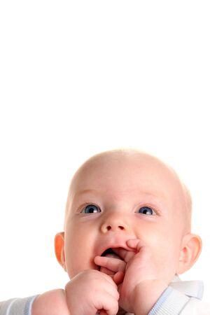 Cute happy curious baby isolated on white