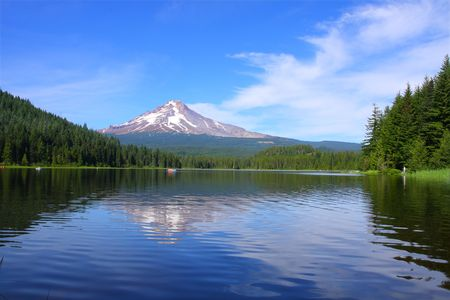 Mt. Hood at Trillium Lake in the summer photo