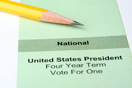 Close up of ballot for US president with pencil