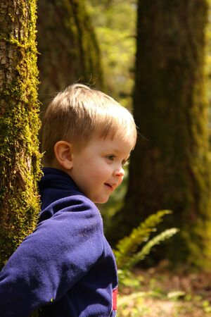Young thoughtful boy leaning against a tree in the woods
