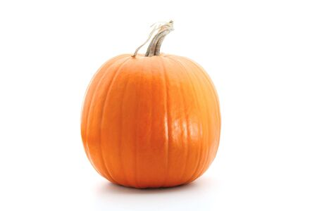 Big round orange pumpkin isolated on white Stock Photo