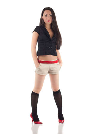 Studio shot of beautiful sexy young asian woman, isolated on white