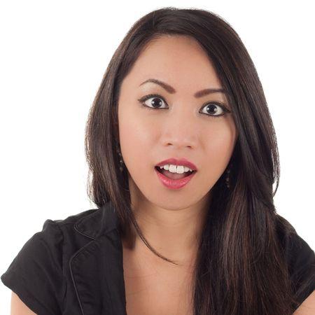boca abierta: Disparo de estudio de mujer sorprendida o escandalizada aislada en blanco Foto de archivo
