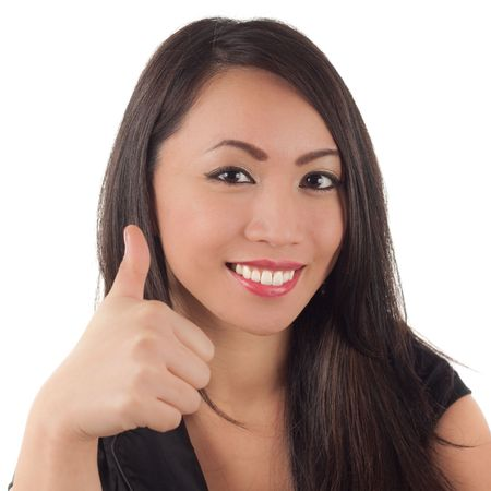 Young attractive asian woman giving thumbs up sign, isolated on white