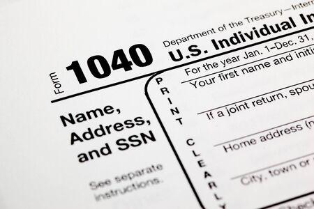 Tax time - Closeup of U.S. 1040 tax return Stock Photo