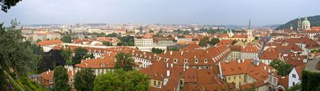 Panorama of Prague roof tops