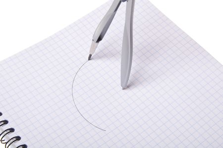 Compasses on copybook Stock Photo - 5881719