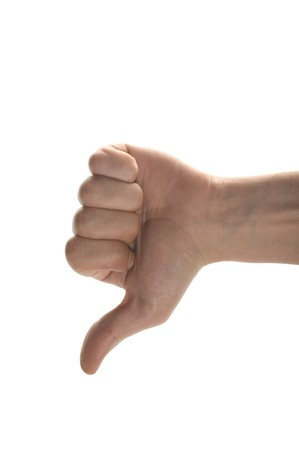 man's thumb: mans hand  showing thumb down isolated on white background Stock Photo