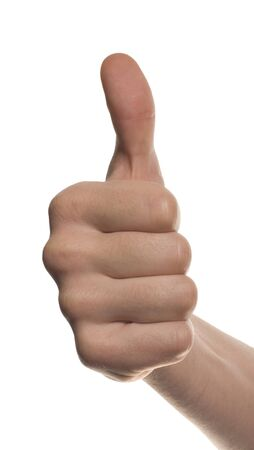 Thumbs up mans hand isolated on white background photo
