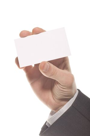 Hand holding an empty business card over white Stock Photo - 7026340