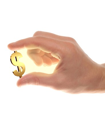 well shaped male hand with usd gold symbol Stock Photo