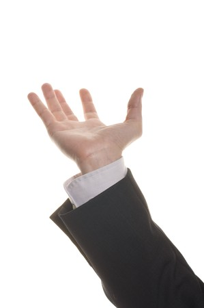 well shaped businessman hand reaching for something isolated on white  Stock Photo