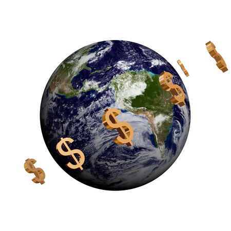 3d image: model of Earth  with usd symbols around