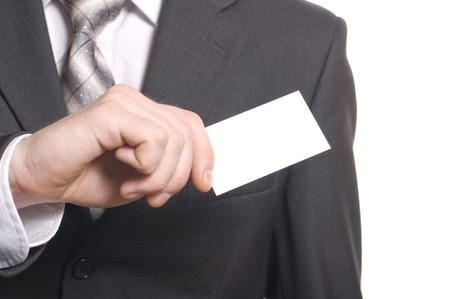 business man hand with visit card Stock Photo