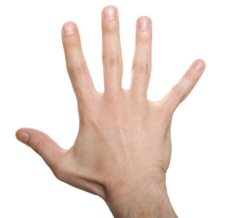 ring finger: well shaped business man hand count isolated over white. five