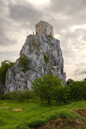 old castle Betskov on the rock in Slovakia photo