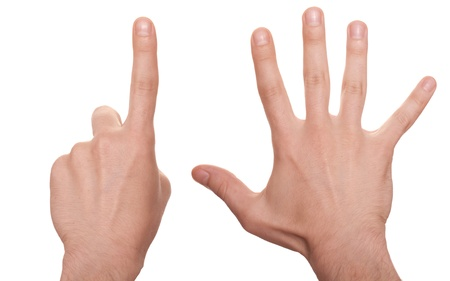 well shaped business man hand count isolated over white. six