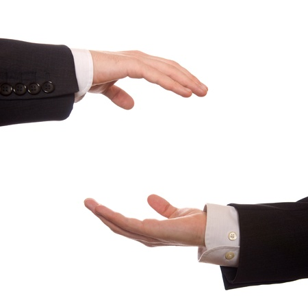 two businessman share something isolated on white Stock Photo