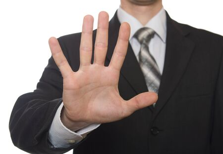 open hand: well shaped business man hand count isolated over white. five