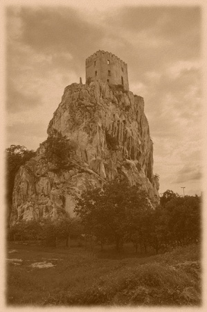 old castle Betskov on the rock in Slovakia (vintage style)  photo