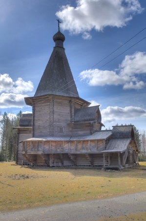 HDR of old wooden church in Malye Karely (Little Karely) near Arkhangelsk, north of Russia, Europe photo
