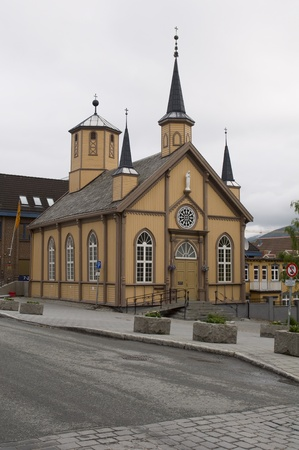 artic circle: Old famous church in tromso Stock Photo