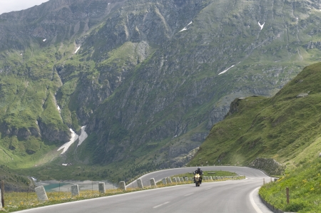 motorcyclist on the rise on the Grossglockner