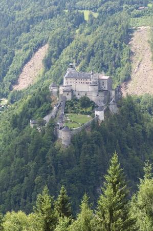 salzach: Amazing view of Alpine castle Hohenwerfen near Salzburg, Austria