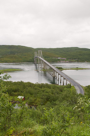 artic circle: bridge through fjord in Norway