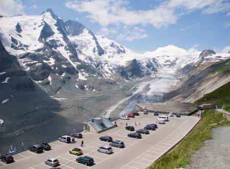tauern: Parking on top Glacier Pasterze. Austrian Alps Stock Photo