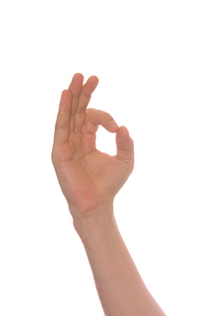 mans hand make OK isolated on white background