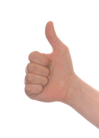 well shaped mens hand make thumbs up isolated over white