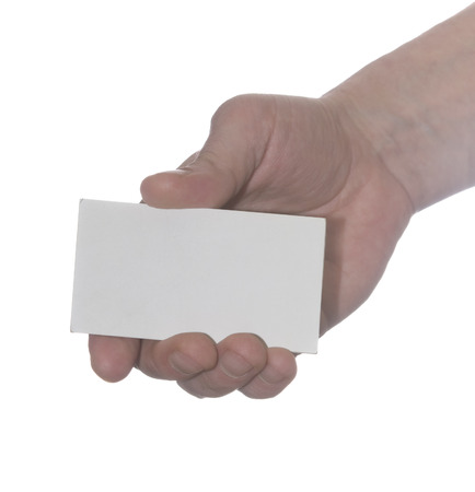 Business man handing a blank business card over white  Stock Photo