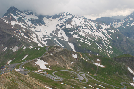 Amazing view to the road to Grossglockner. Austrian Alps.  Stock Photo