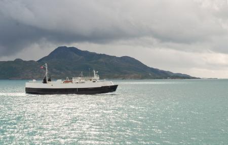 cargo ferry on Norwegian fjord
