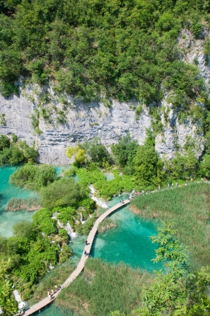 Amazing view of Plitvice lakes - national park of Croatia  Stock Photo