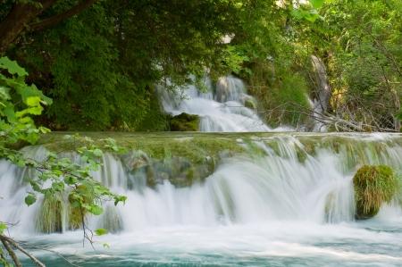 Waterfall on Plitvice lakes - national park of Croatia