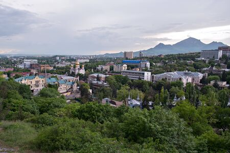 Pyatigorsk. View of the evening city and Savior Cathedra. Russia. 版權商用圖片