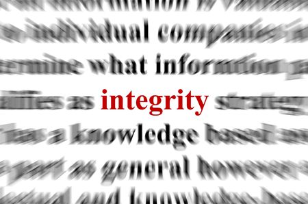 a conceptual image with the focus on the word integrity
