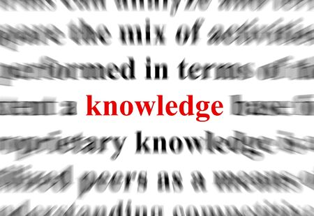 a conceptual image representing a focus on the word knowledge