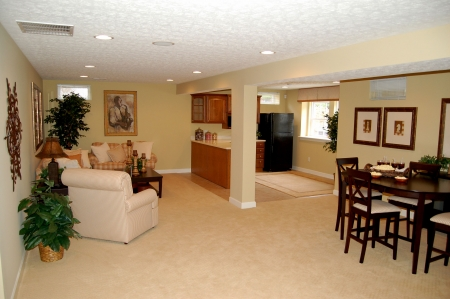 nicey decorated full finished basement in a model home