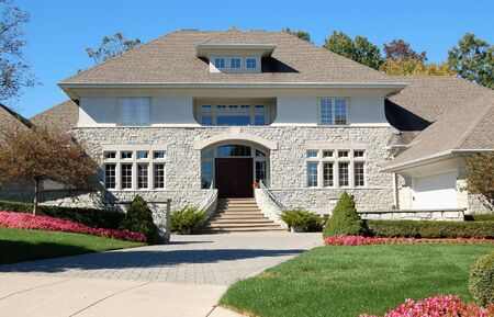 Grand entrance to luxury home Stock Photo