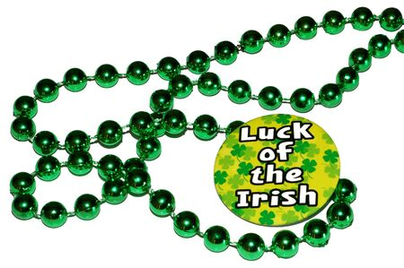 st patricks day button with green beads
